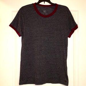 Ten Tree gray T-shirt with maroon trim